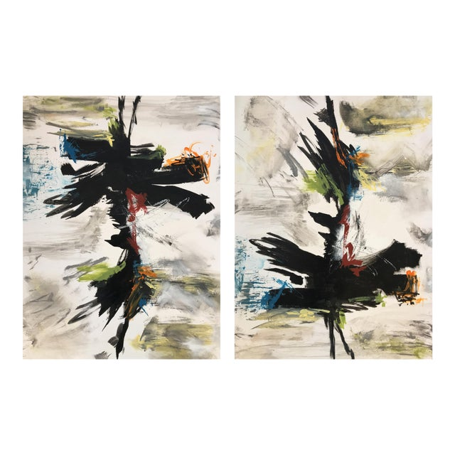 """ZenJoy"" Original Modern Asian Colorful Paintings - a Pair #11 For Sale"