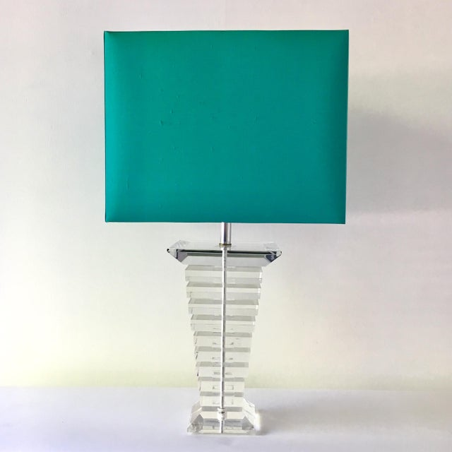 Large Single Tapered Stacked Lucite Table Lamp with Nickel Stem Detail 1970sFully rewired by Talisman with Custom Made...