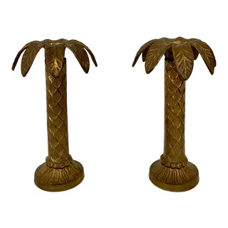 Brass Palm Tree Candlesticks-A Pair For Sale