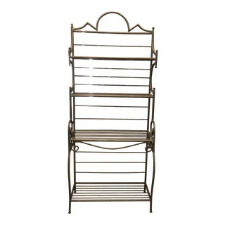 Traditional Metal Bakers Rack With 4 Glass Shelves For Sale