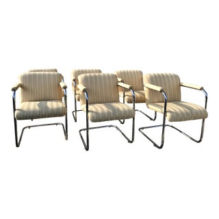 Set of 6 Mid Century Modern Thonet Cantilever Arm Chairs