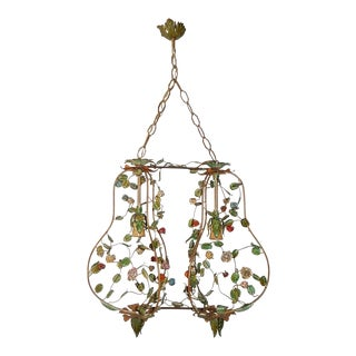 French Double Floral Tole Roses Chandelier For Sale
