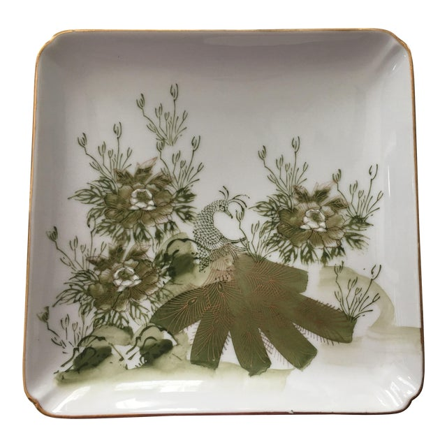 Vintage Japanese Green and White Porcelain Plate For Sale
