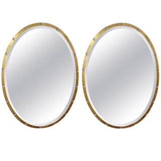 Pair of Oval Crystal and Gold Mirrors For Sale
