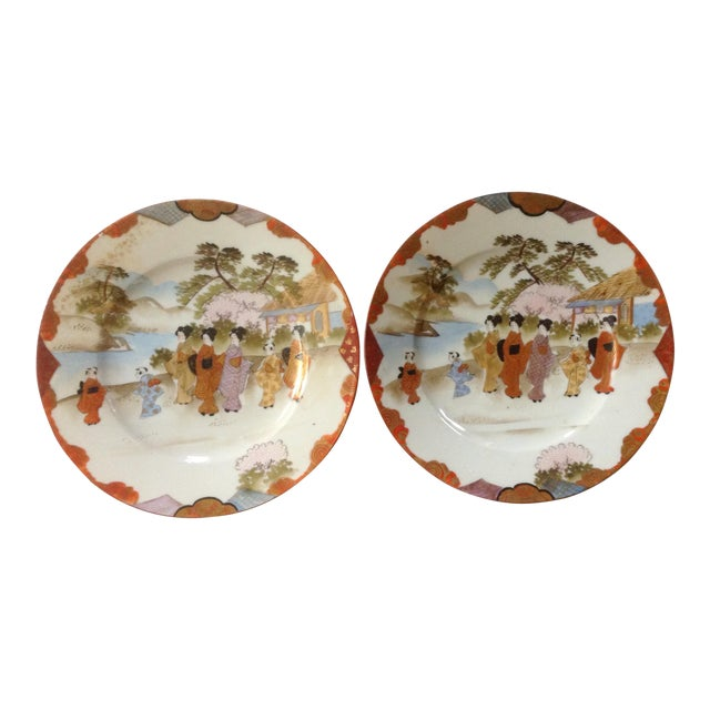 Japanese Dinner Plates - a Pair For Sale