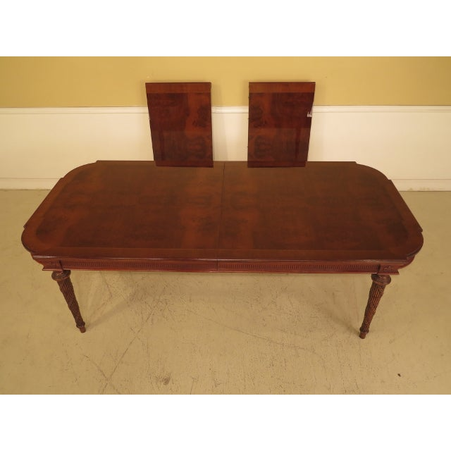 EJ Victor Regency Burl Walnut Dining Room Table Age: Approx: 30 Years Old Details: Fine Carved Details High Quality...