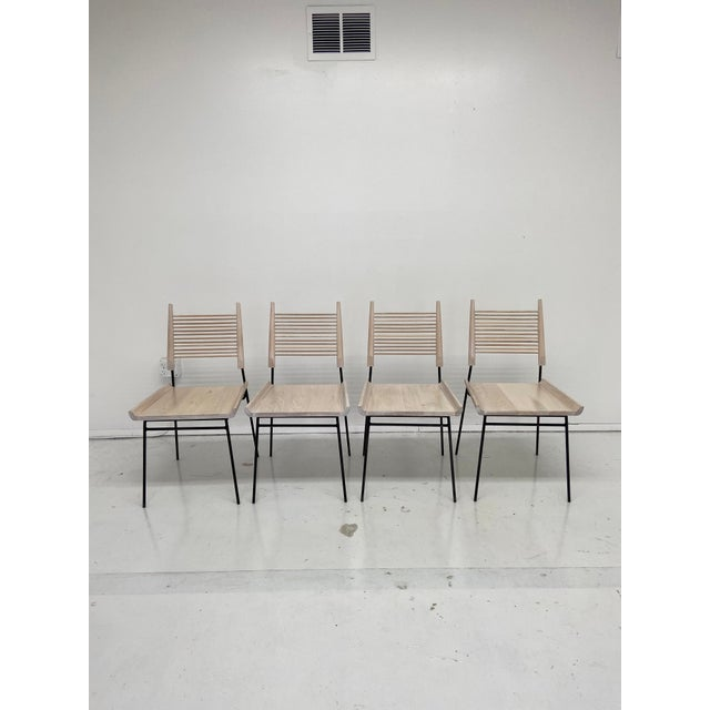 Paul McCobb Style Oak and Iron Chairs- Set of 4 For Sale - Image 10 of 13