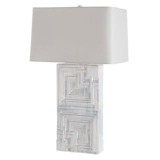 Abstract Arterior Homes Geometric Pattern White Ceramic Table Lamp For Sale
