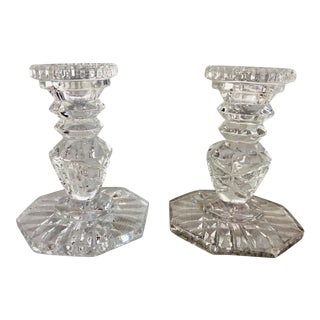 Vintage Ornate Cut Glass Candle Holders - a Pair For Sale