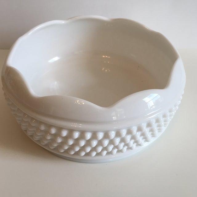 Glass Vintage Hobnail Milk Glass Bowl For Sale - Image 7 of 7