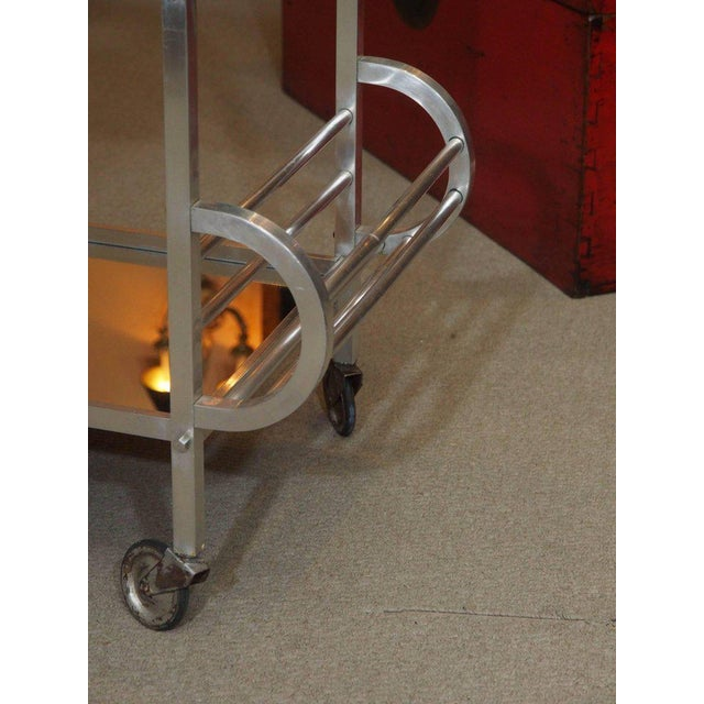 1940s French Art Deco Aluminum Drinks Trolley with Removable Tray-Style of Adnet For Sale - Image 5 of 8