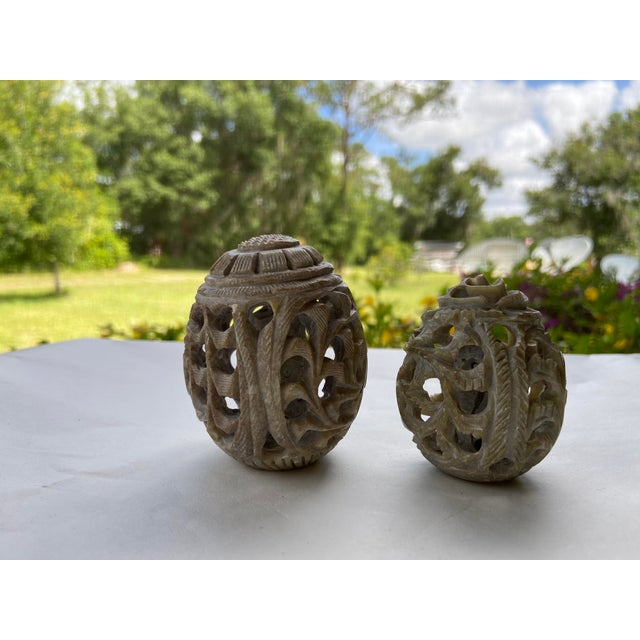 Vintage Stone Hand-Carved Eggs- a Pair For Sale - Image 9 of 12