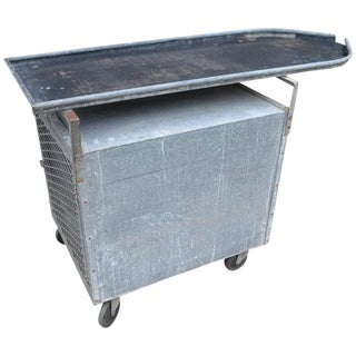 Bar / Potting Table / Plant Stand on Wheels of Industrial Galvanized Steel For Sale