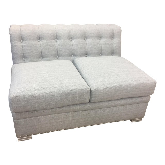 Modern Chesterfield Century Furniture Armless Love Seat For Sale