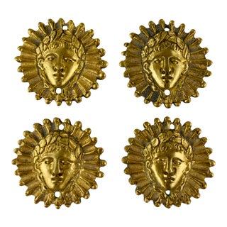 French Ormolu Sun King Head Medallion Ornaments, S/4 For Sale