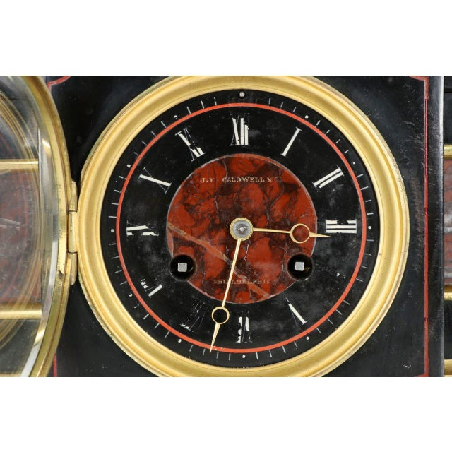 Traditional J.E. Caldwell Mantel Clock With Bronze Sculpture of a Cartographer - Image 7 of 10