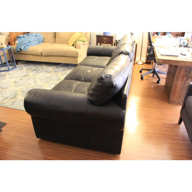 Black Maurice Villency Down Filled Black Leather Sofa For Sale - Image 8 of 11