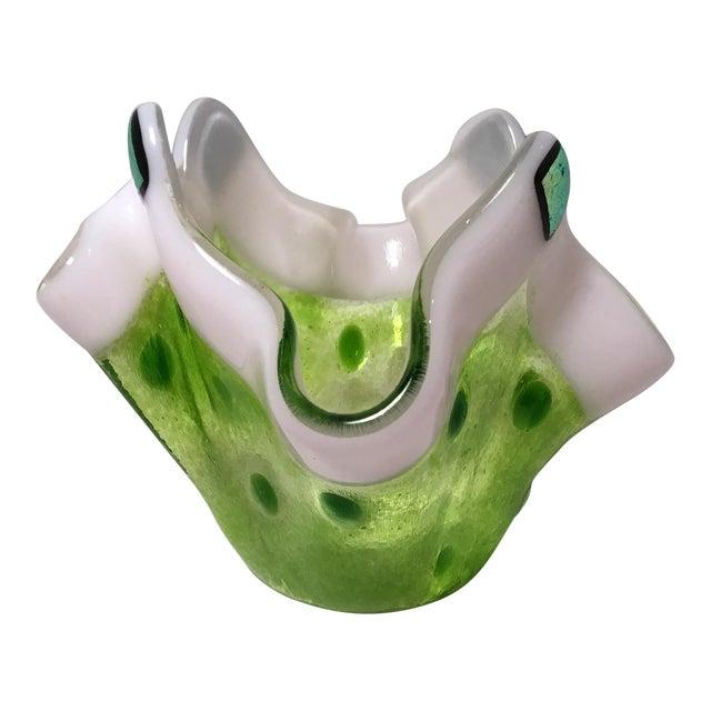 Handmade Clover Green Glass Vase For Sale