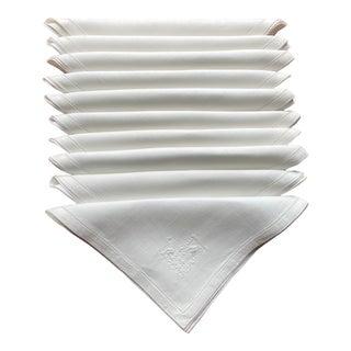 Vintage White Embroidered Linen Napkins- Set of 10 For Sale