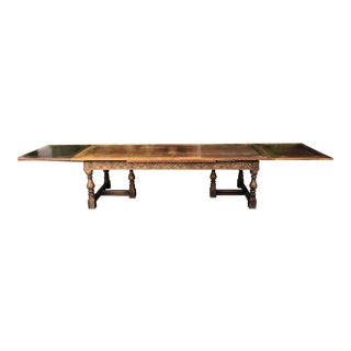 Huge Antique Spanish Colonial 14' Extension Dining Table For Sale