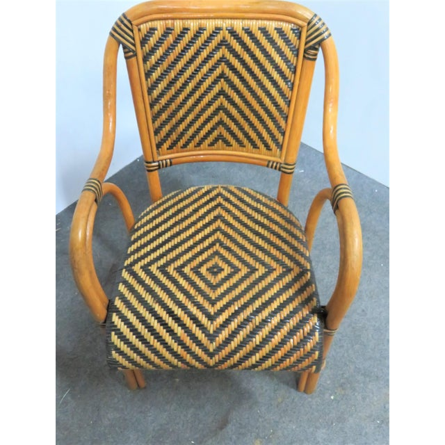 Mid Century Rattan Basket Weave Arm Chairs- Set or 4 For Sale In Philadelphia - Image 6 of 7