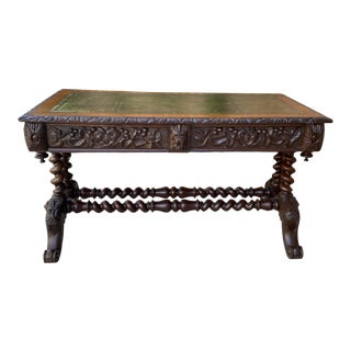 Antique English Desk Table With Drawers with Carved Oak Leather Top For Sale