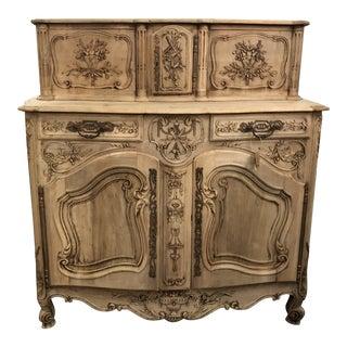 19th C. Louis XV Antique White Oak Buffet Glissante For Sale