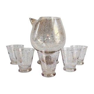 Hollywood Regency Dorothy Thorpe Rare 22k Gold Martini Pitcher and Glasses - Set of 6 For Sale
