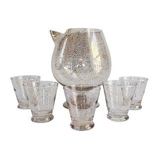 Hollywood Regency Dorothy Thorpe Rare 22k Gold Martini Pitcher and Glasses - Set of 6