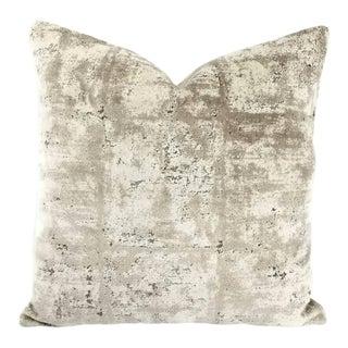 S. Harris Mesmerize Gray Abstract Velvet Pillow Cover For Sale