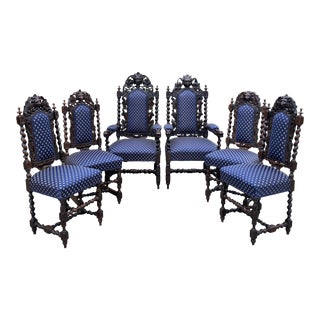 Antique French Barley Twist Hunt Chairs - Set of 6 For Sale