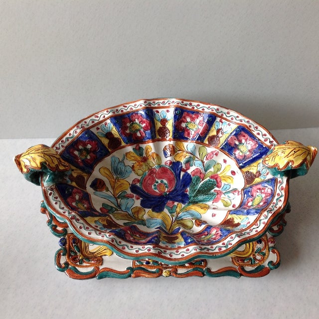 Hand-Painted Majolica Pottery Bowl & Tray - Image 5 of 11