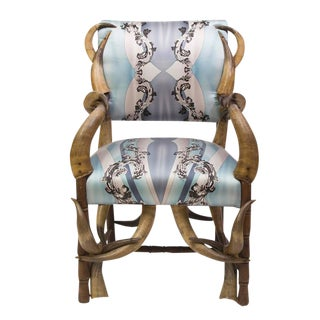 19th Century Steer Horn Armchair Upholstered in Silk For Sale