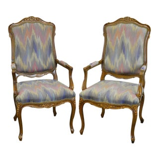 French Louis XV Style Quality Arm Chairs by Kenyon Home Furnishings - a Pair For Sale