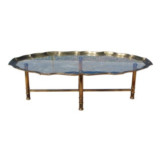 Vintage Hollywood Regency Glass Tray Table Brass Coffee Table For Sale