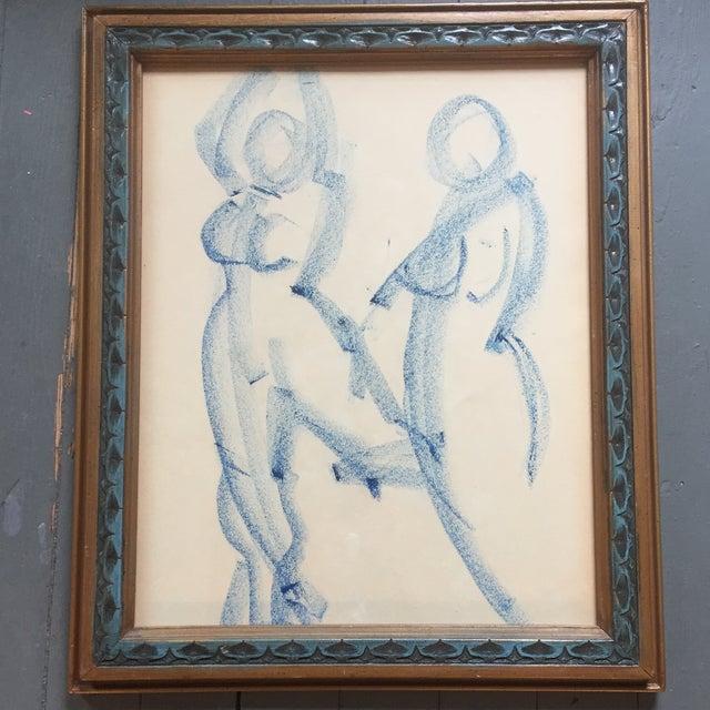 Original Vintage Modernist Female Nude Drawing For Sale In Philadelphia - Image 6 of 6
