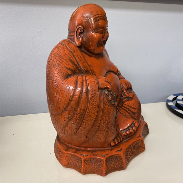 Large Vintage Orange Chalk Ware Happy Buddha For Sale In Richmond - Image 6 of 12