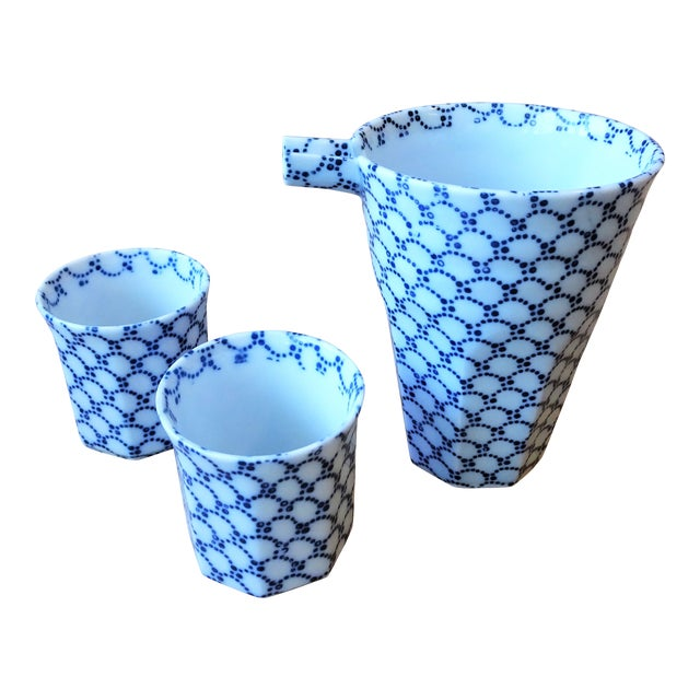 Blue and White Sake Bottle and Cups - Set of 3 For Sale