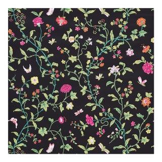 Sample - Schumacher Floraison Wallpaper in Jet Multi For Sale