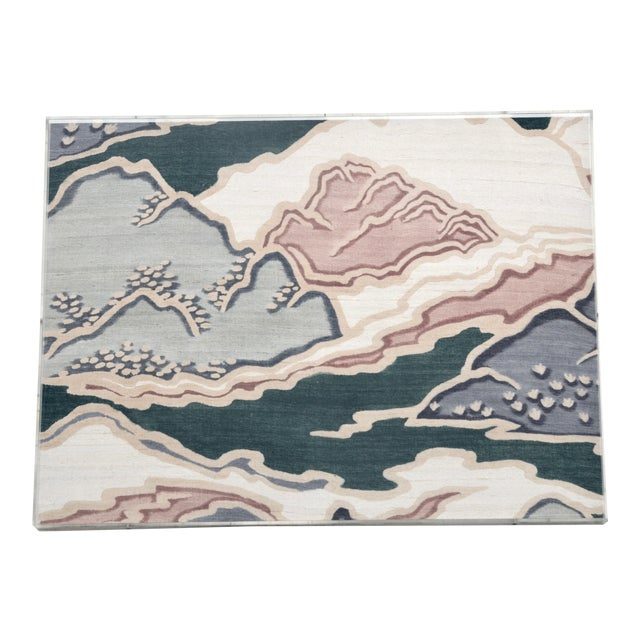 Mid Century Modern Japanese Painted Raw Silk Art For Sale