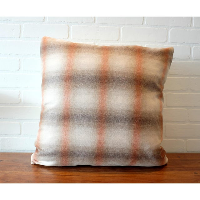 "A custom designer 22""x22"" pillow cover in a Duralee Highland Court plaid fabric. The material is 100% wool and is produced..."