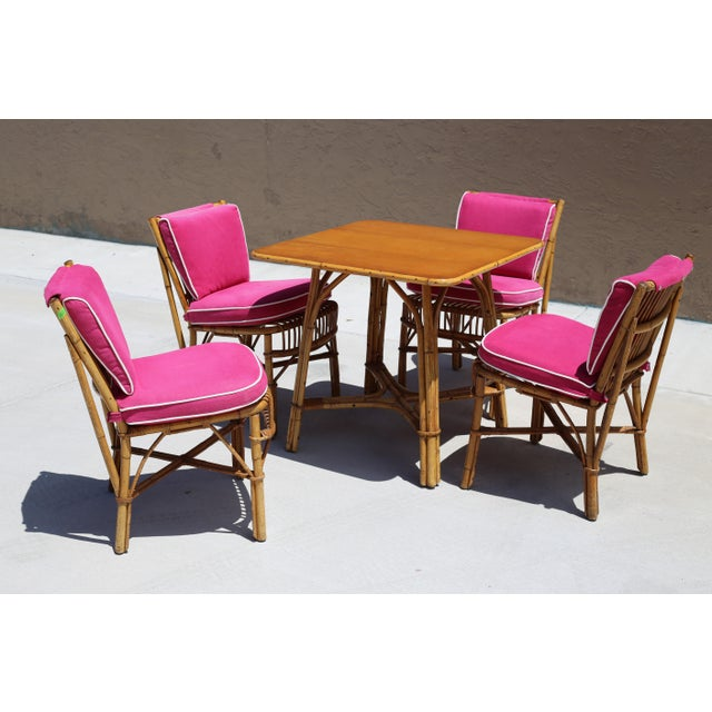 Ficks Reed Vintage Ficks Reed Rattan Dining Table With 4 Chairs - Set of 5 For Sale - Image 4 of 9