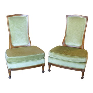 Light Green Slipper Chairs - A Pair