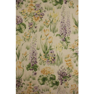 Vintage 1930's French Large Scale Purple Floral Cotton Tulips Pansies Textile For Sale