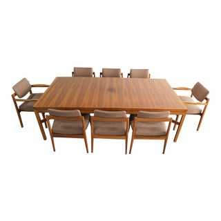 Mid-Century Modern Jens Risom Extendable Wood Dining Set - 9 Pieces For Sale
