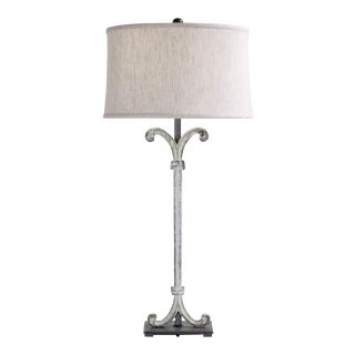 Scroll Column Table Lamp with Shade For Sale