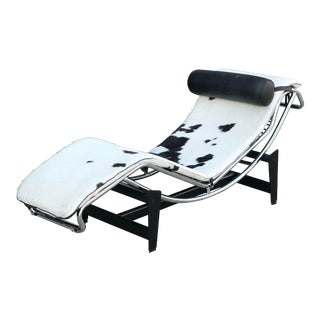 Cow Hide Chrome Lounger in the Manner of Le Corbusier