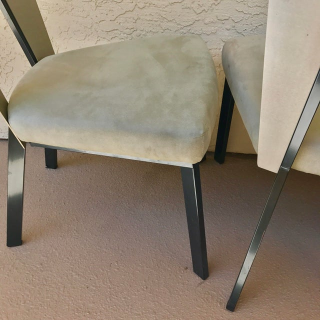 Modern Curved Aluminum & Suede Dining Chairs - Set of 4 - Image 7 of 7