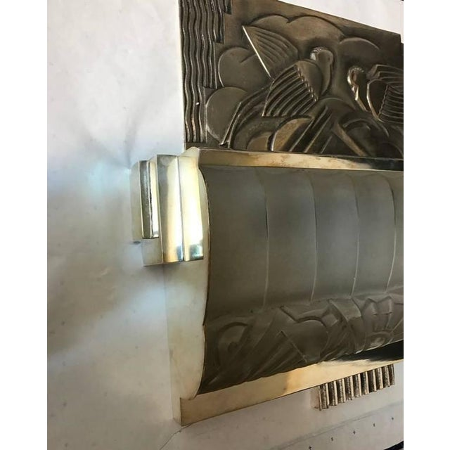 Metal French Art Deco Sconces With Geometric Motif - a Pair For Sale - Image 7 of 9