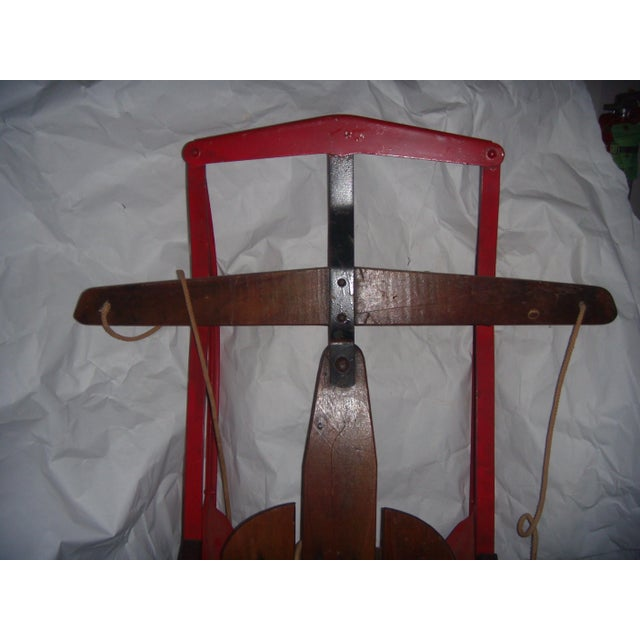 Antique Lightning Glider Wood & Iron Sled For Sale - Image 4 of 6